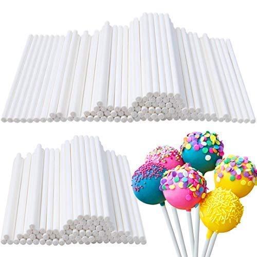 Lollipop Sticks 400pcs White Paper Cake Pop Sticks 4 Inch Lollipop Treat Sticks Sucker Sticks for Cookies,Chocolate,Cake Topper,Rainbow Candy, Cake Pops