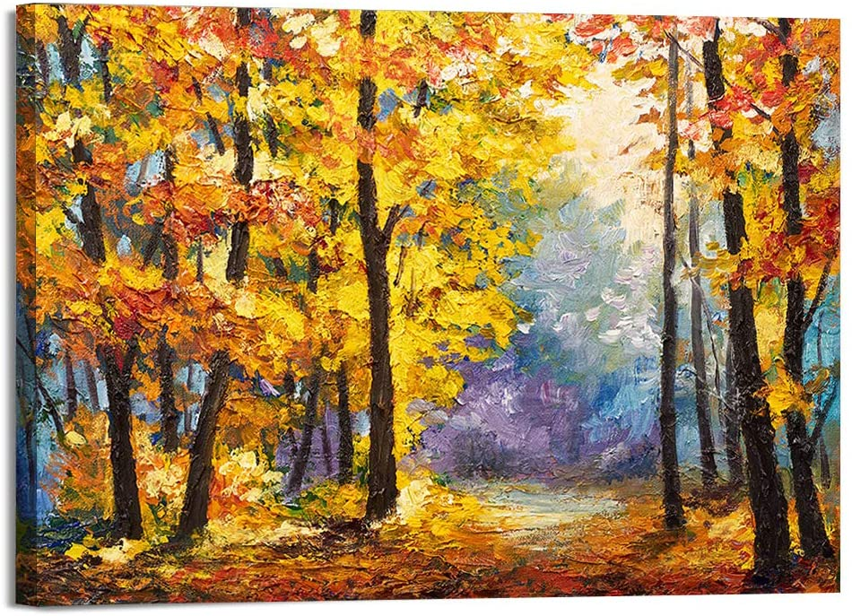 Autumn Forest Canvas Wall Art for Living Room Bedroom Decoration, Modern Canvas Artwork, Home Wall Decor Posters, 16x24