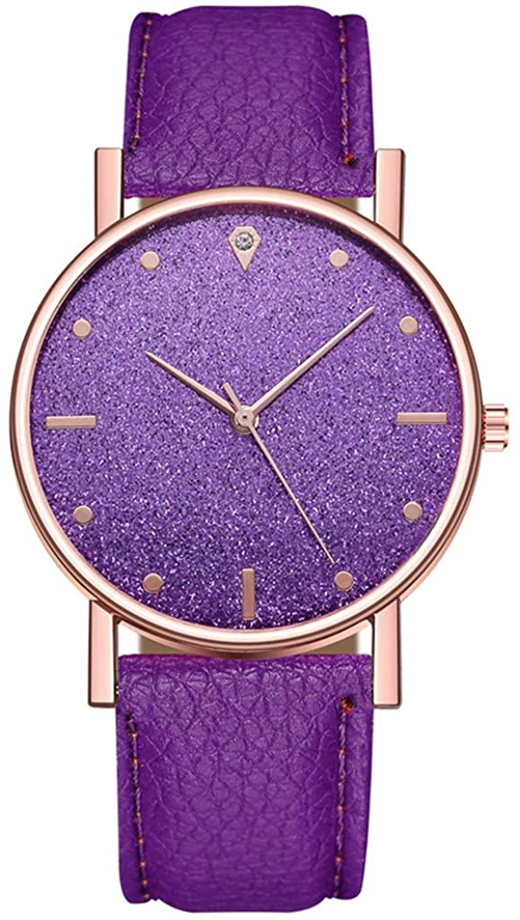 Yeyamei Women's Watches,Luxury Lady Casual Quartz Wristwatches Chronograph Stainless Steel Dial Leather Band Round Watches Fashion Dress Business Analog Wrist Watch for Women (y2-Purple)