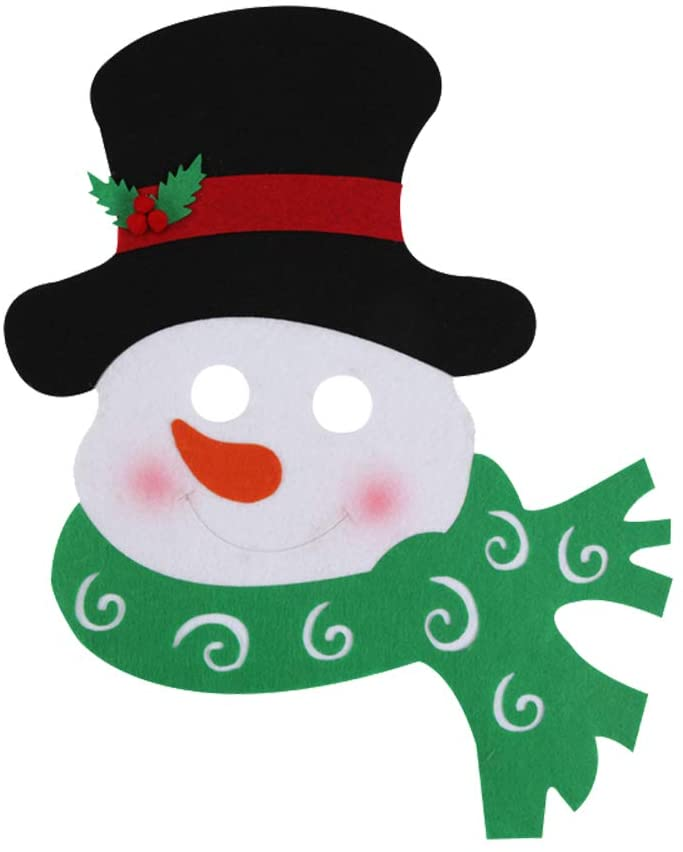 Amosfun Christmas Decorative Mask Snowman Design Face Mask Funny Nonwoven Mask Christmas Supplies Dress Up Apparel Accessories for Costume Cosplay Christmas Party Supplies