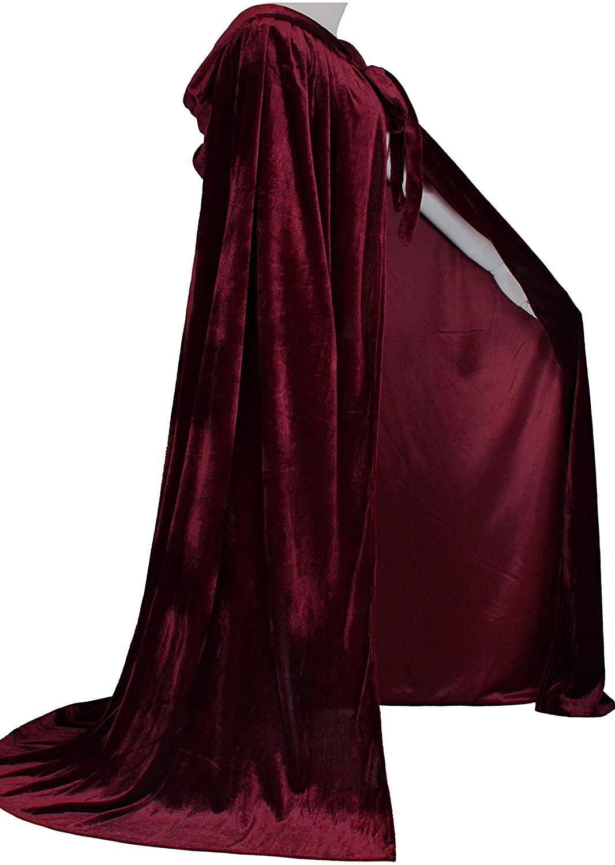 LuckyMjmy Unlined Velvet Medieval Renaissance Hooded Cloak Cape