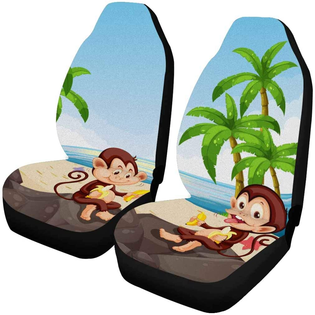 InterestPrint Universal Seats for Car SUV Each Piece with Different Printing Monkey Eating Banana