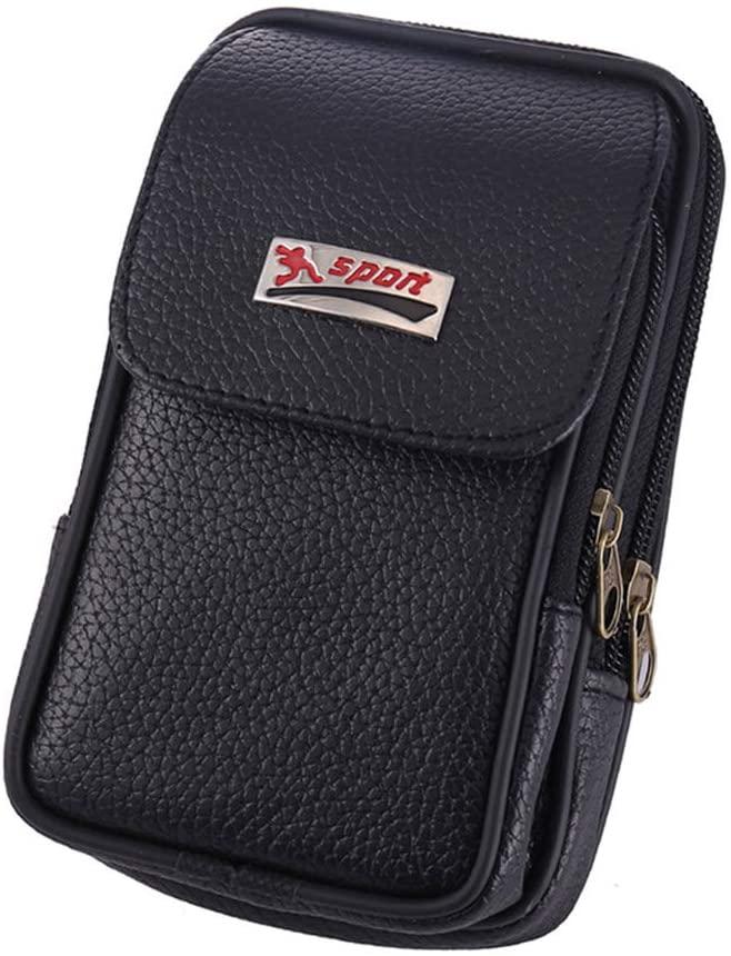 QINREN Vintage PU Leather Waist Bag Belt Loop Holster Carry Phone Pouch Wallet Case,Black,PU Leather