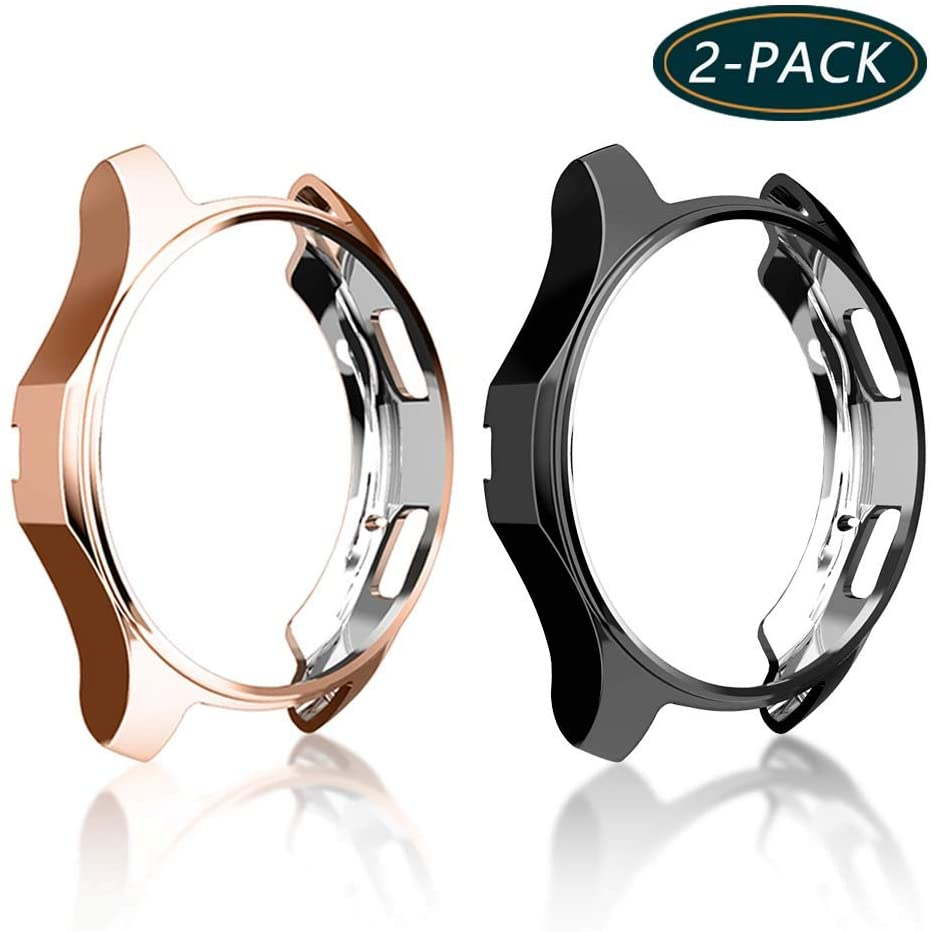 [2-Pack] KPYJA Case for Samsung Gear S3 Frontier 46mm, Shock-Proof and Shatter-Resistant Protective TPU Cover for Samsung Gear S3 Frontier SM-R760/Galaxy Watch SM-R800(Black+Rose Gold)
