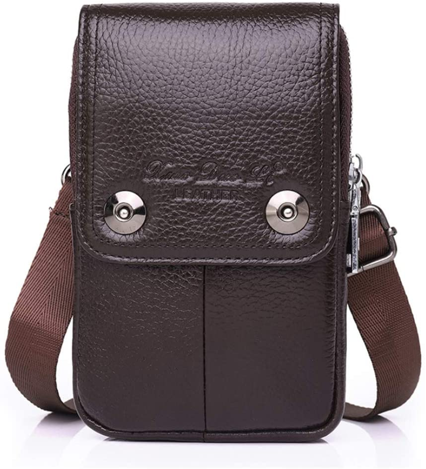 Leather Men Smartphone Small Shoulder Bag, Cell Phone Holder, Tactical Phone Holster, Carrying Case Belt Loop Pouch Men's Waist Pocket for Hiking Style3-Dark Brown