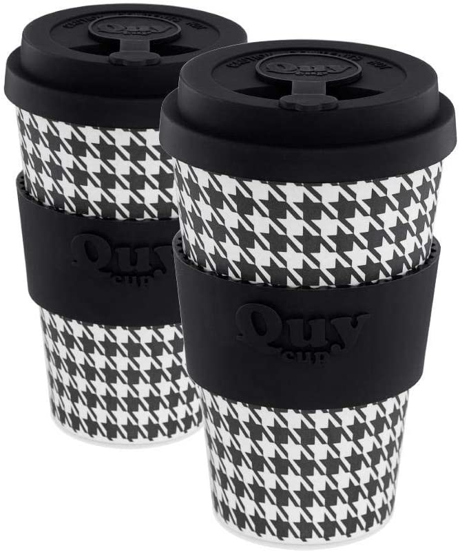 QUY CUP. Pie de Poule. Bamboo Coffee To Go Mug - Pack of 2, 14 oz. Italian Design, BPA Free Ecofriendly Cups, 2 Reusable Travel Mugs