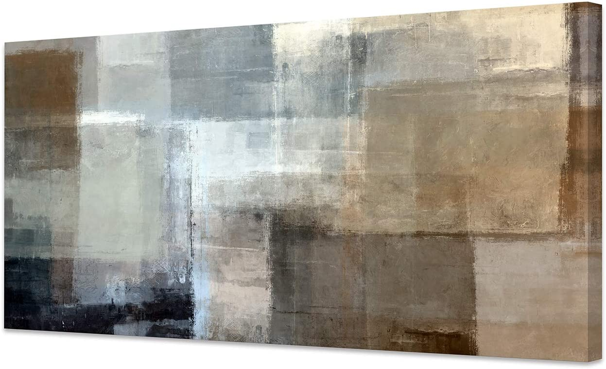 Canvas Prints Abstract Wall Art Print Paintings Grey and Brown Stretched Canvas Wooden Framed for living Room Bedroom and Office Home Decor Artwork XLarge 24x48inch