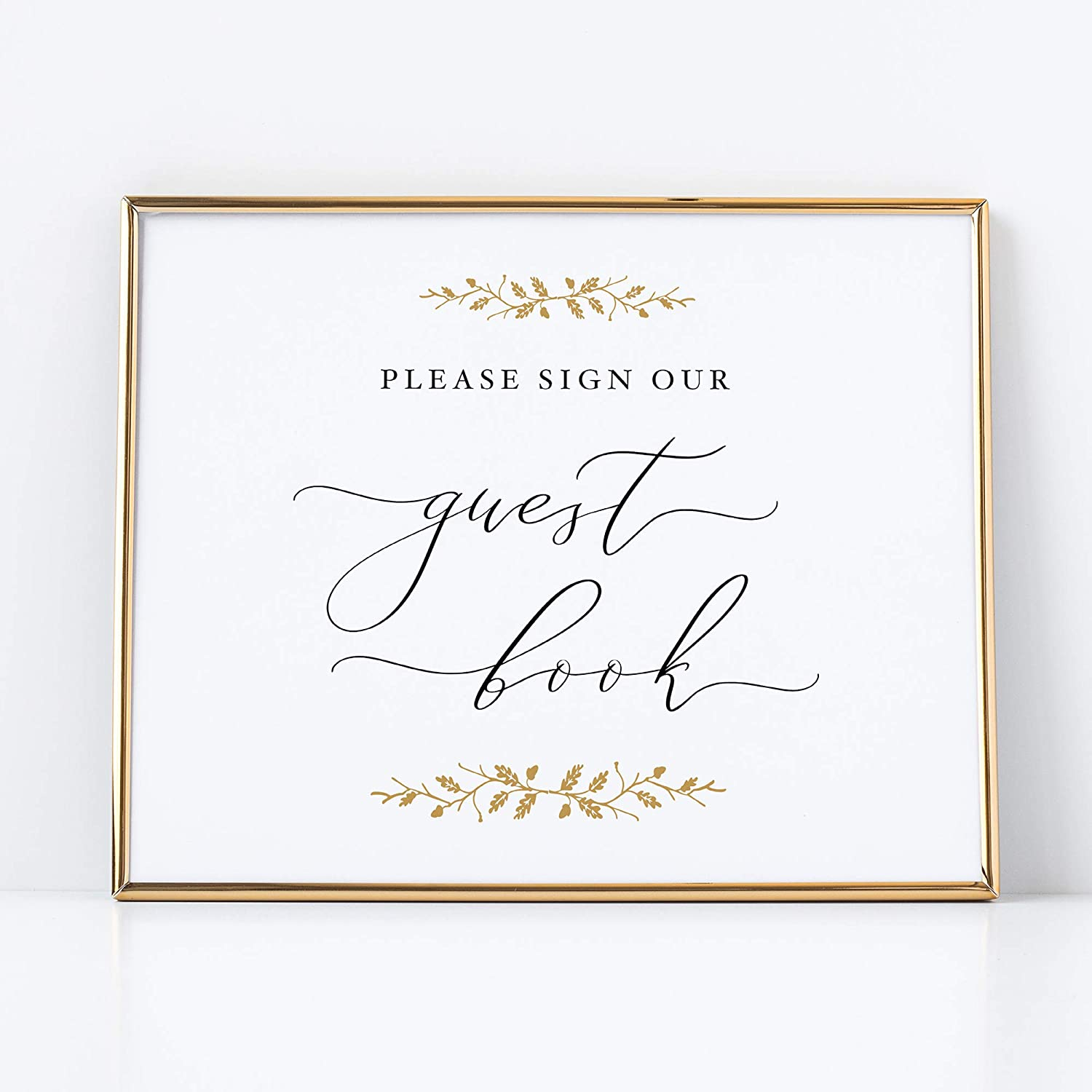 Please Sign our Guestbook Sign for Weddings 8x10 Pearl with Gold Accents Printed on Professional Thick Pearlescent Cardstock Wedding Decoration UNFRAMED Elegant Style