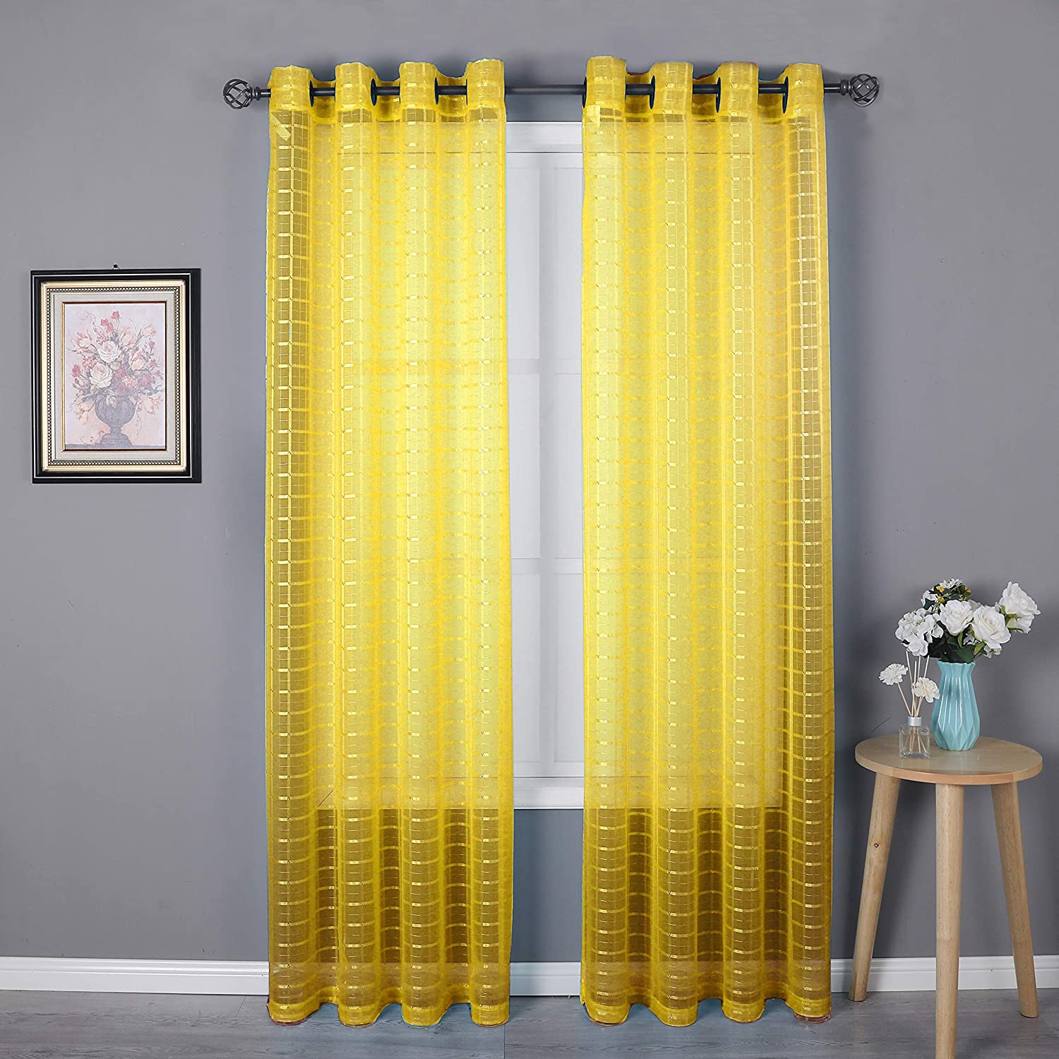 HEJEME Yellow Sheer Curtain Window Curtains (54 x 84inch) with Grommets - Single Layer Semi Sheer Plaid Lines Panels for Bedroom, Living Room & Dining Room, Set of 2 Panels (Yellow)