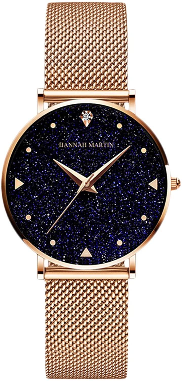 RORIOS Fashion Women's Watch Starry Sky Analogue Quartz Ladies Wristwatches Mesh Band Simulated Diamond Girl Wrist Watches