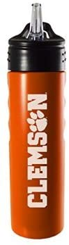 Clemson University-24oz. Stainless Steel Grip Water Bottle with Straw-Orange