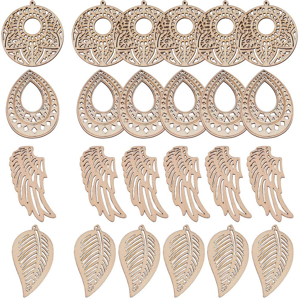 SUNNYCLUE 24Pcs 4 Styles Wood Pendant Unfinished Wooden Teardrop Flat Round Leaf Wing Shape Wood Pieces with Hole for Jewelry Earrings Making Supplies DIY Arts Craft Projects Decorations