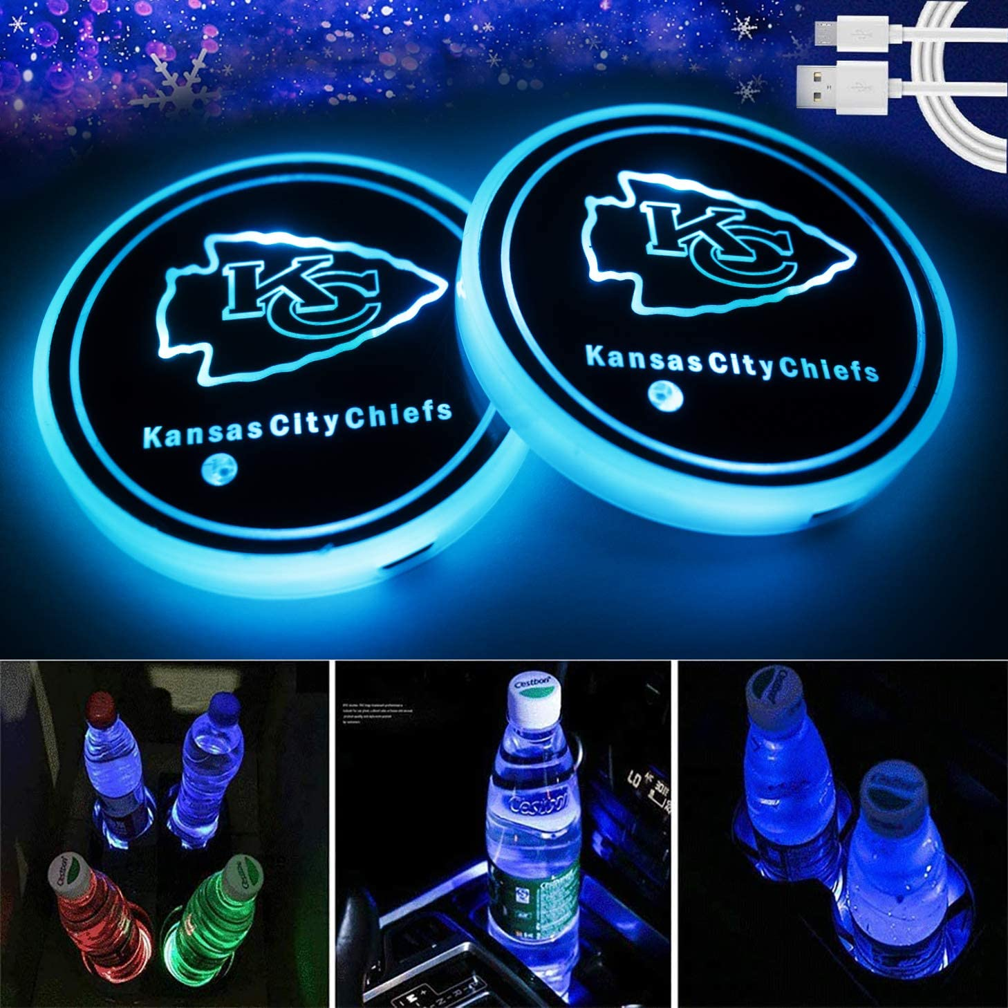 Topfans 2PCS Fit Kansas City Chiefs Car Cup Holder Lights,USB Charging Lights Up The Coaster,Changeable Color LED Interior Atmosphere Lamp (fit Chiefs)