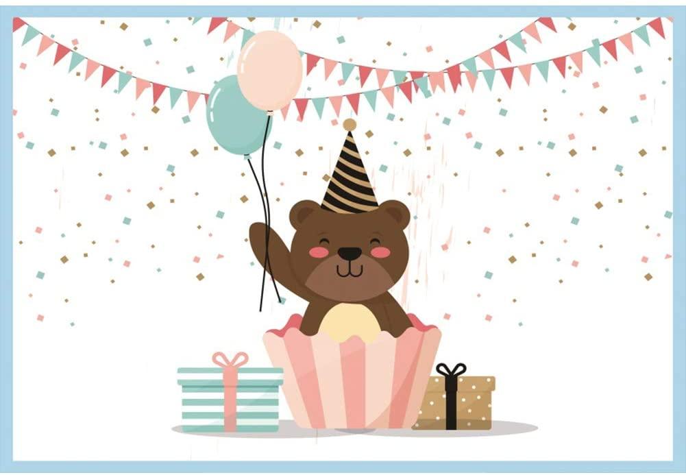 Baocicco 9x6ft Cartoon Little Bear Backdrop Happy Birthday Backdrop Baby Shower Backdrop Photography Background Birthday Party Baby Kids Boys Photo Portraits Room Wallpaper Decor Photo Studio Props