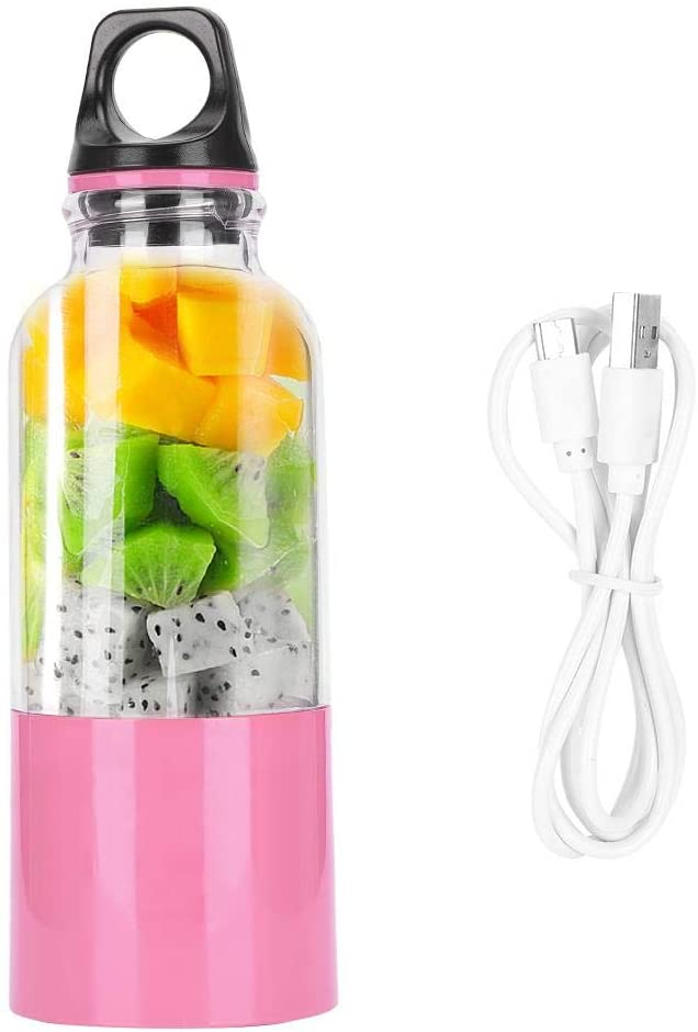 Juicer Cup Vegetable Squeezer USB Rechargeable Portable Automatic Tool 500ml Smoothie Blender Fruit Juicer For(Pink, 500ML)