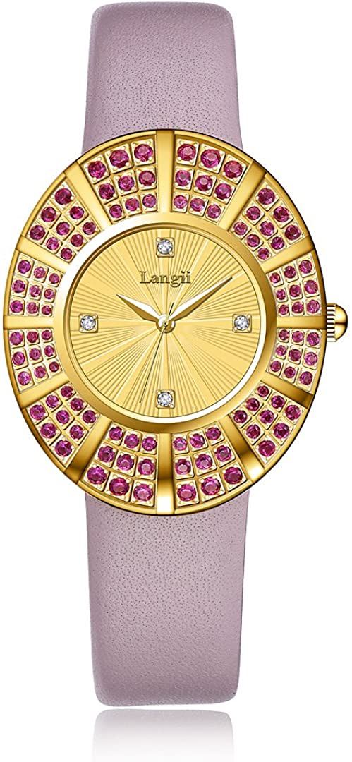 Women Yellow Gold Watches - Jewelry Style Wrist Watches for Women Pink Leather Band 108 Crystals Prongs Setting