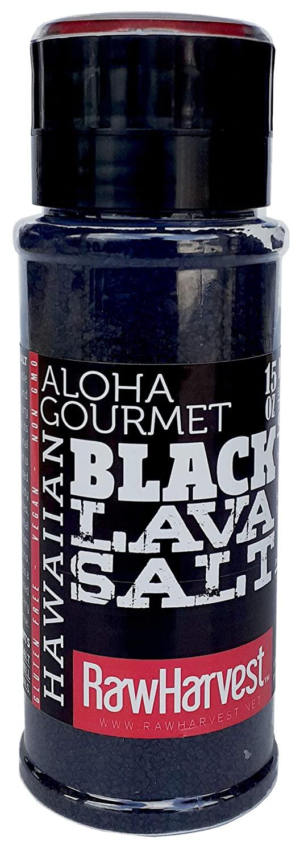 RawHarvest Hawaiian-Style Black Lava Coarse Salt 15oz with adjustable Refillable Grinder.