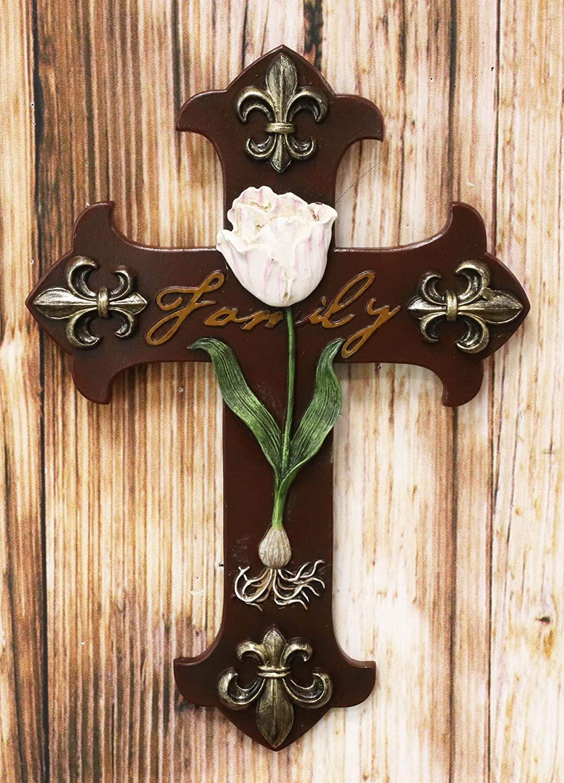 Ebros Rustic Southwest 'Family' Tuscan Fleur De Lis Emblems With Pink Rose Of Sharon Wall Cross Decor Plaque 10