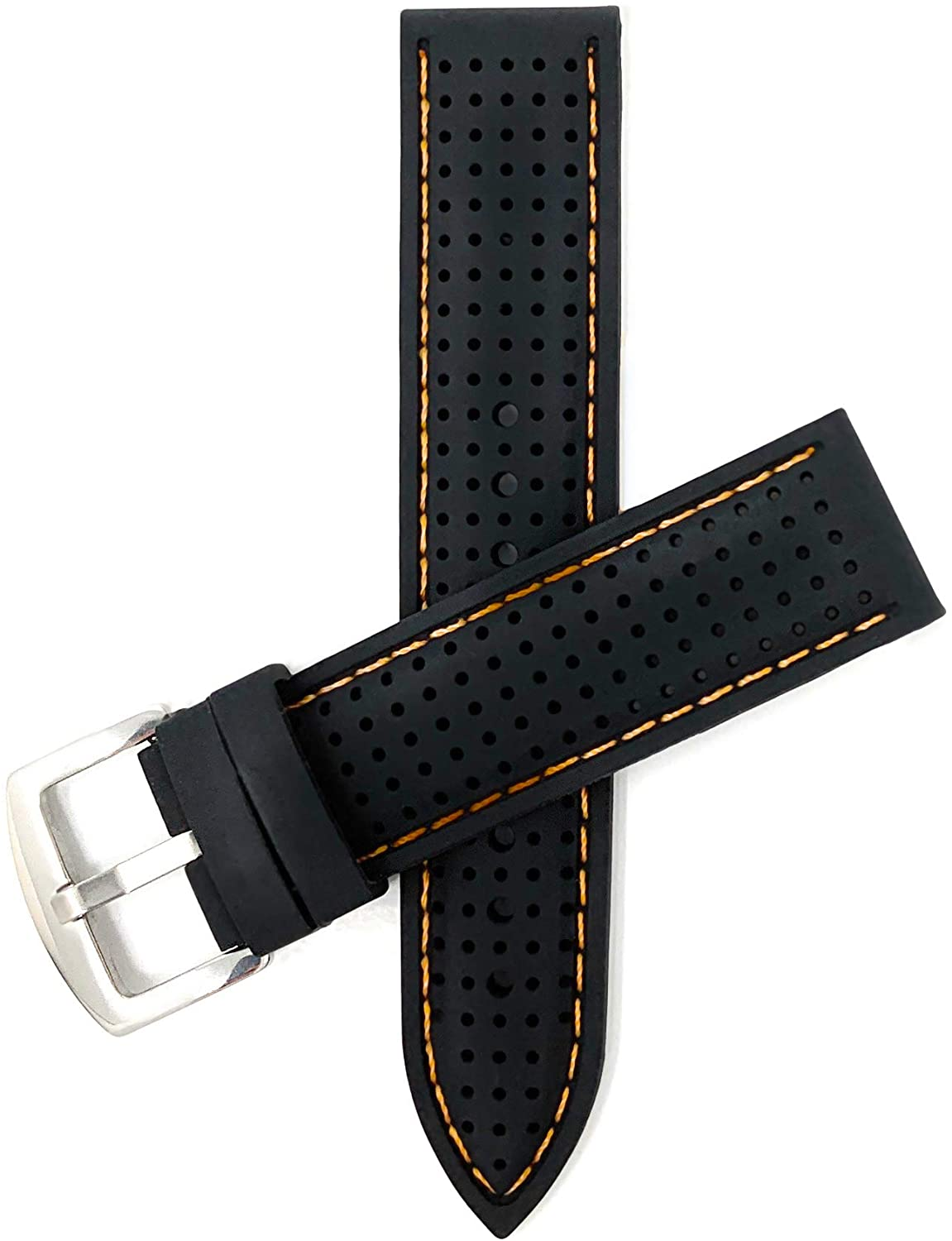 Bandini 22mm Silicone Watch Bands - Soft Rubber Replacement Watch Straps - Perforated GT Rally Vented - Waterproof - Black or Stainless Steel Buckle - Many Colors