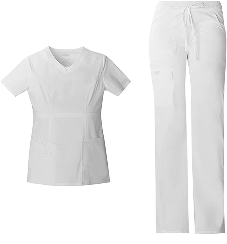 Cherokee Workwear Core Stretch Women's Scrub Set - 24703 V-Neck Top & 24001 Low Rise Drawstring Cargo Pant, White, Medium