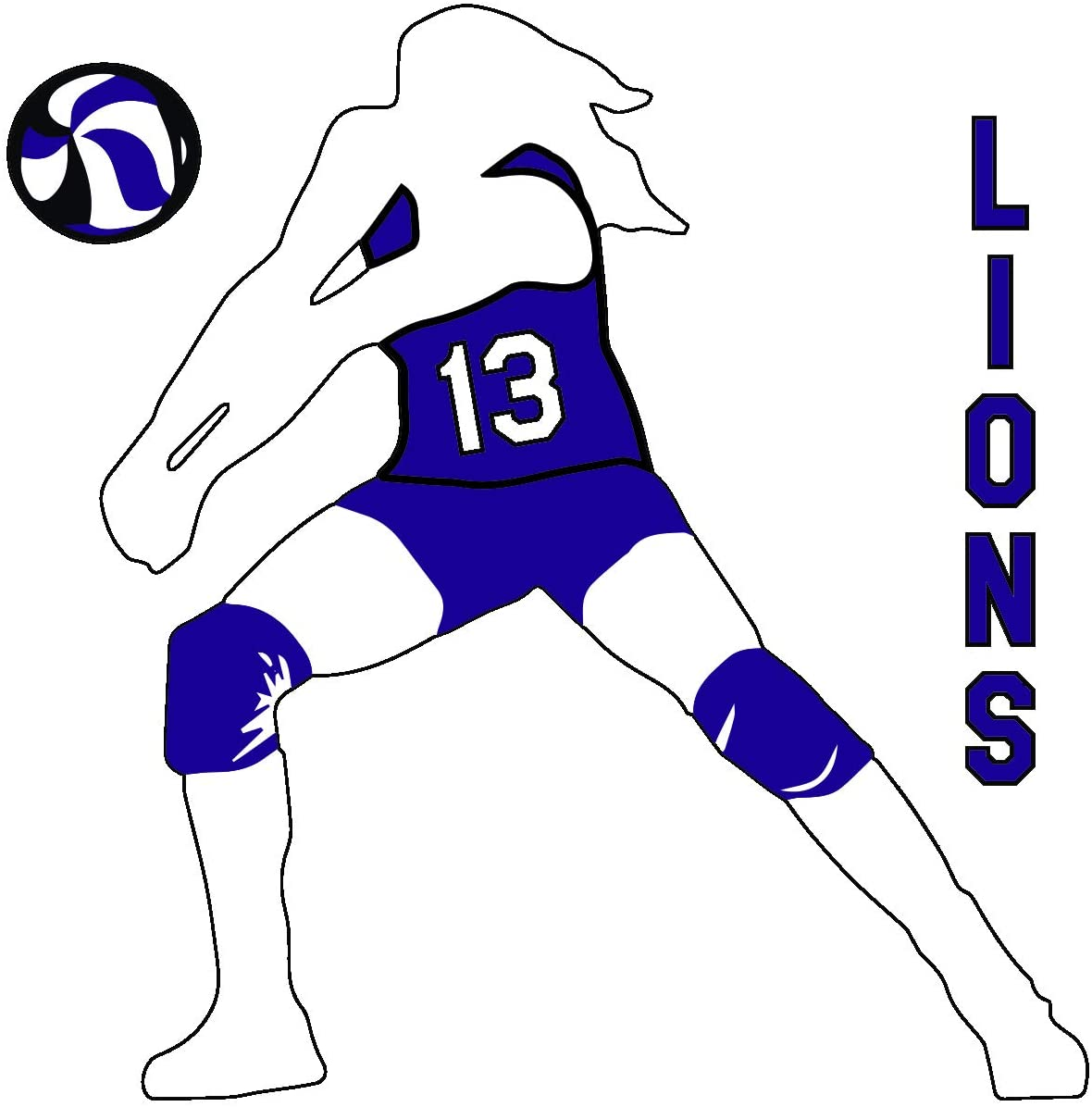 Volleyball Girl Set Vinyl Window Decal Sticker Choose Number Choose Your Text (Purple)