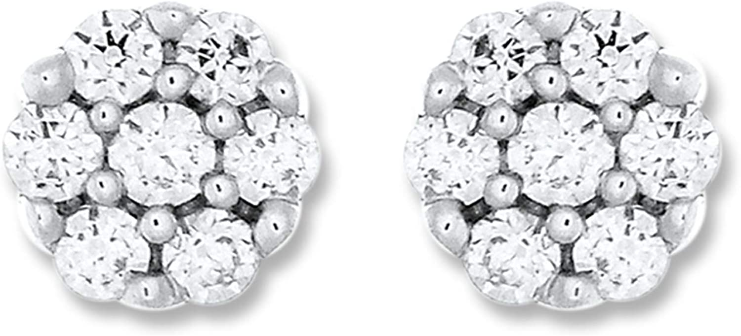 1/6 Cttw Diamond Floral Stud Earrings in 10K White Gold