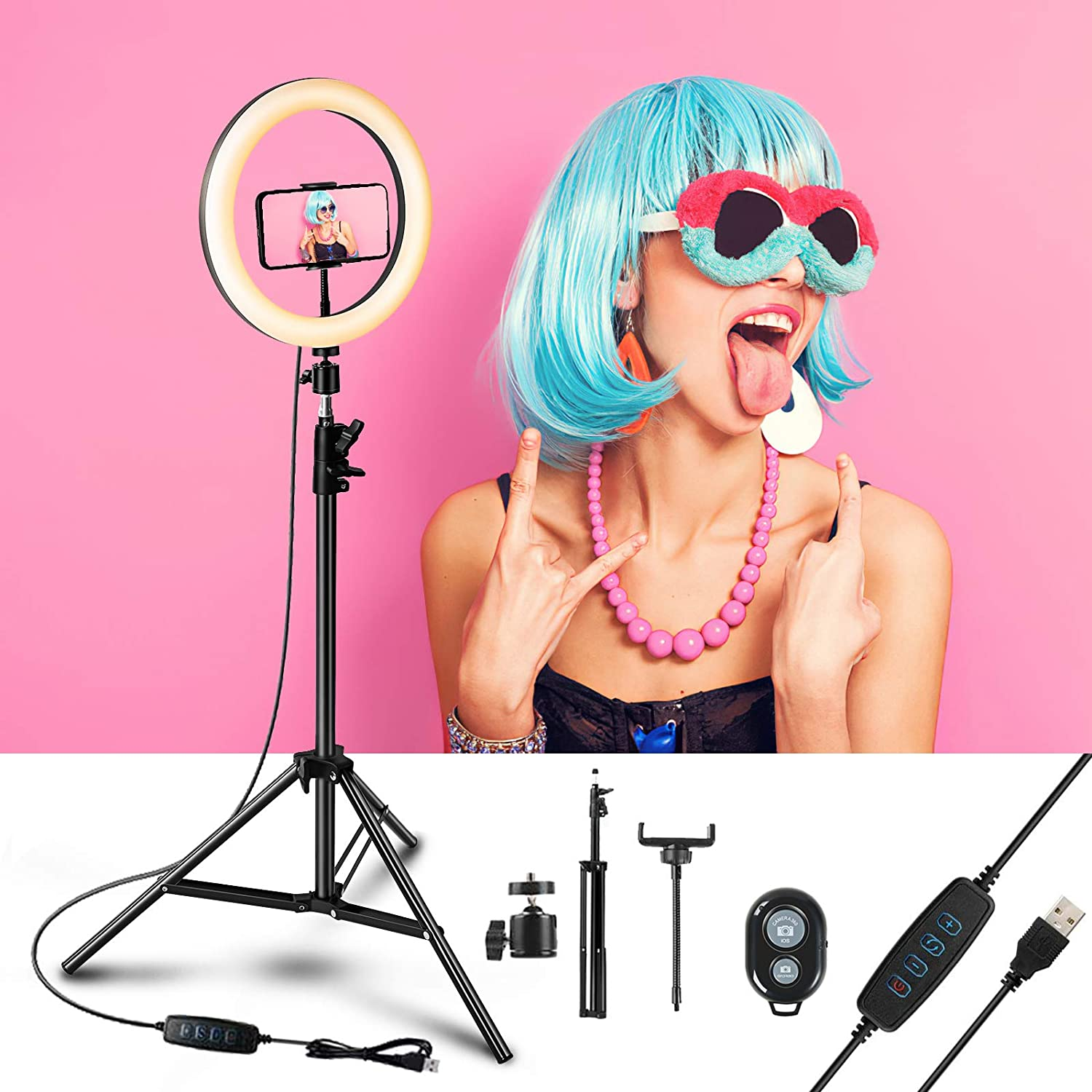 Digi marker Selfie Ring Light with Tripod Stand(17.8
