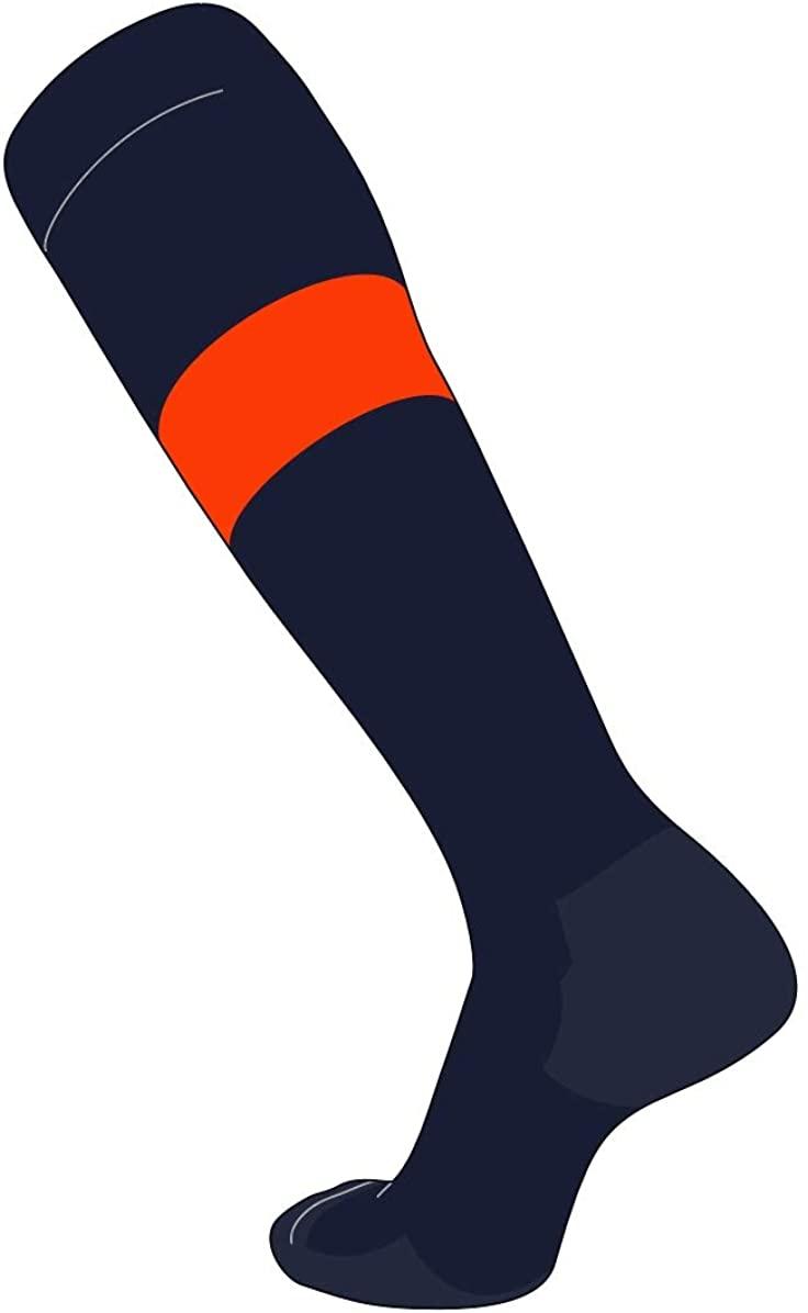 TCK Elite Baseball Football Knee High Striped Socks (E) Dk Navy, Orange