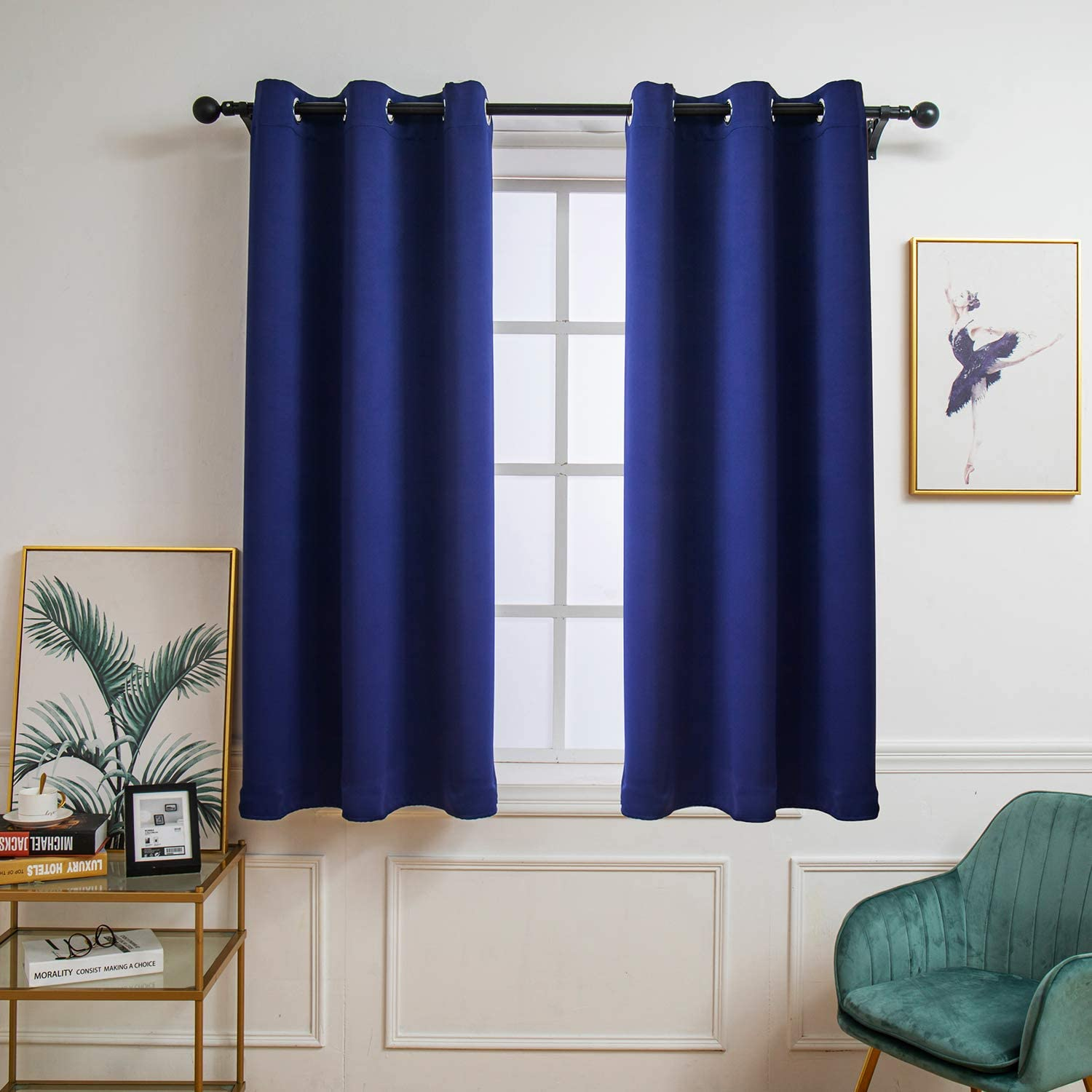 HIGHFLY Blackout Curtains Room Darkening Thermal Insulated Blackout Grommet Window Curtain for Living Room Set of 2 Panels (W42 x L55 -Inch,Navy Blue)