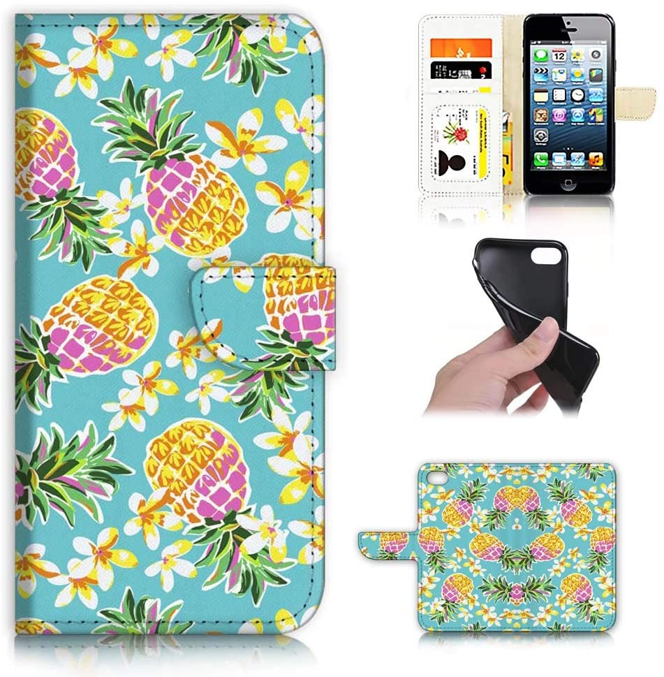 Ajour Pty Ltd for iPhone 8 Plus, iPhone 7 Plus, Designed Flip Wallet Phone Case Cover, A21942 Tropical Pineapple Flower 21942