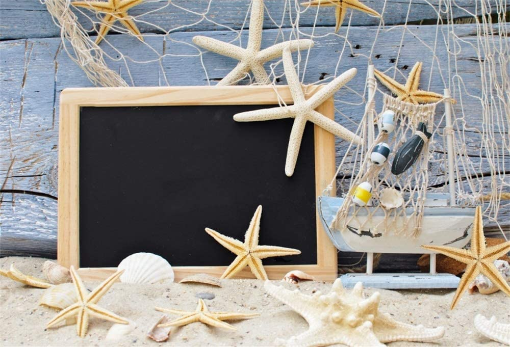Yeele 5x4ft Vinyl Summer Holidays Seaside Travel Backdrop for Photography Ship Boat Fishing Net Starfish Conch Wooden Board Background Nautical Marine Theme Kids Baby Photo Booth Shoot Studio Prop