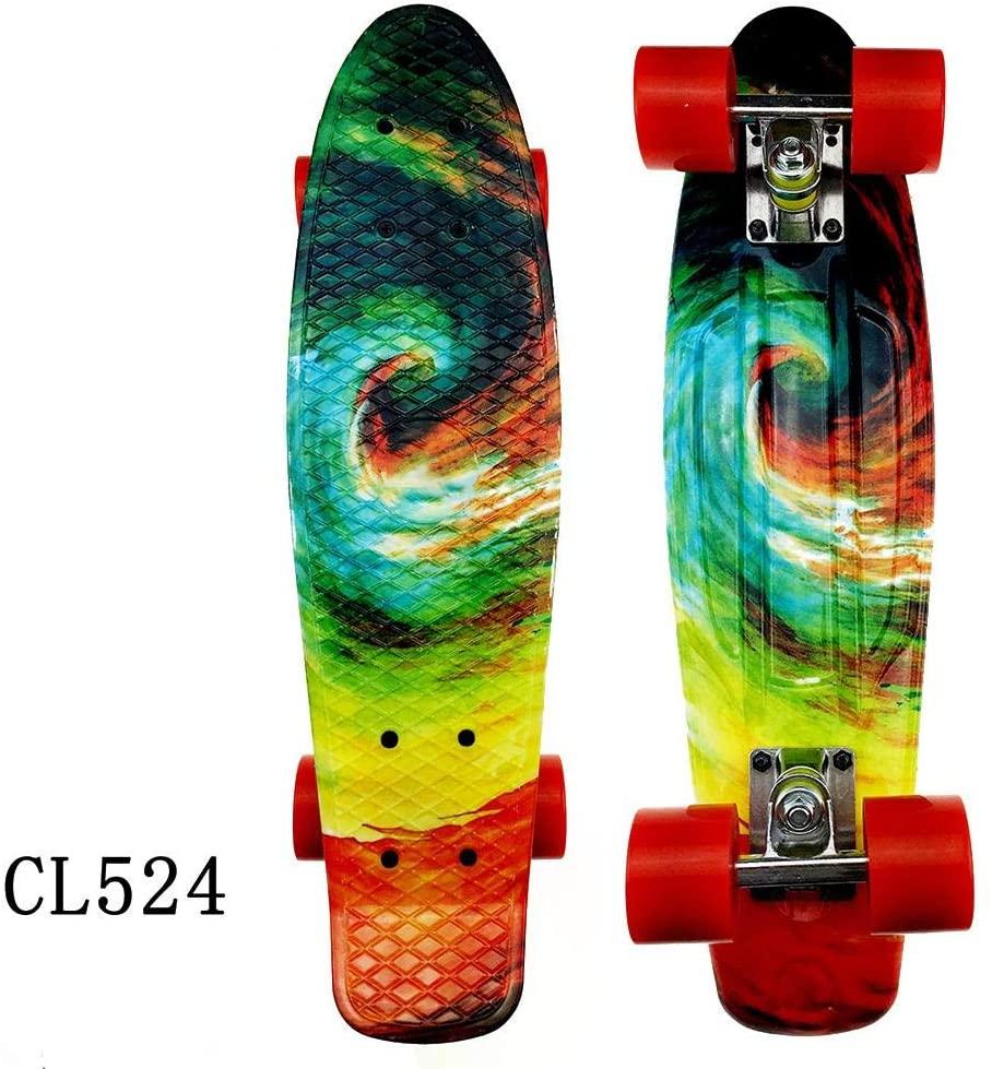 22 Inch Skateboard, Complete Skateboard, Mini Cruiser Retro Skateboard for Kids Boys Youths Beginners