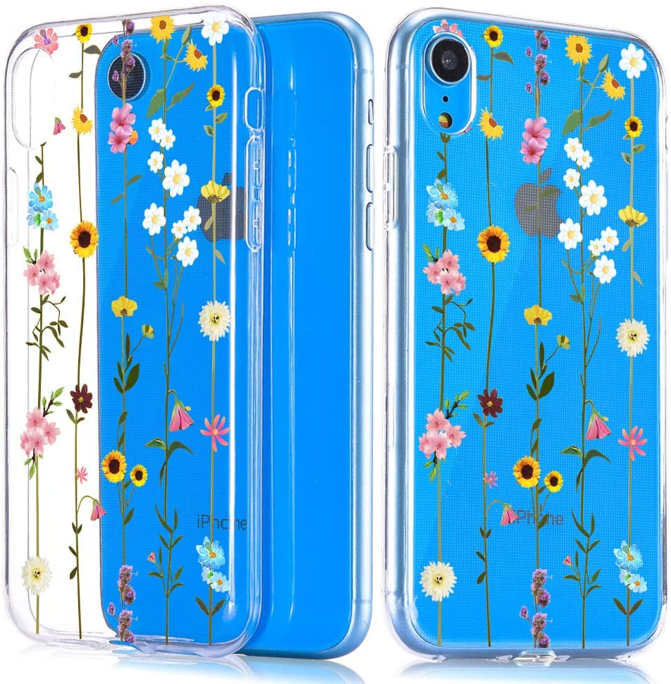 JOYLAND Floral Case for iPhone 7/iPhone 8 Case Flower Pattern Clear Phone Cover Wildflower Flexible Soft TPU Bumper Case for iPhone 7/8