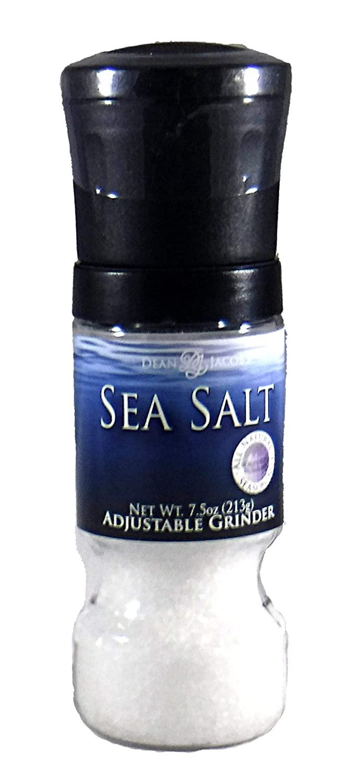 Dean Jacobs Gripper Grinder Sea Salt Seasoning, 7.5 Oz Salt Mill with Kosher Salt Coarse Pure Sea Salt Included