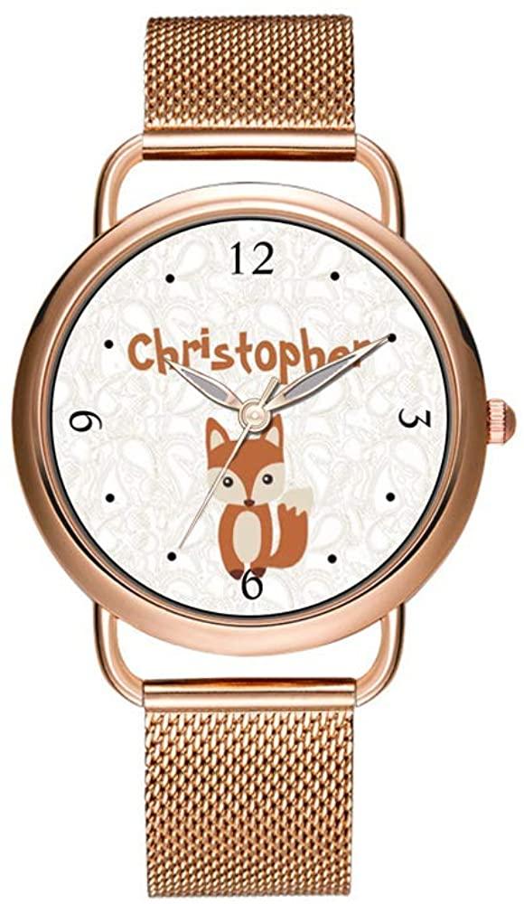 Luxury Christmas Watches Women's Fashion Birthday Gift Japanese Quartz Girl's Rose Gold Bracelet Watch Cute Baby Fox Watch