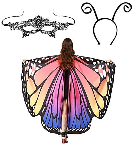 Butterfly Wings Shawl Halloween Cloak Cape with Queen Mask Ant Antenna Headband