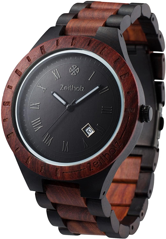 Zeitholz Men's Wooden Watch, Model Zittau - 100% Sandalwood Case and Band - Seiko VJ32 Analog Quartz Wrist Watch with Calendar and Gift Box - Lightweight Handmade Hypoallergenic and Sturdy
