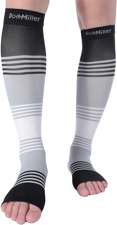 Doc Miller Premium Calf Compression Sleeve Dress Series 1 Pair 20-30mmHg Strong Calf Support Cute Toeless Socks Running Recovery Shin Splints Varicose Veins XL 2XL (Open Toe BlackGrayWhite, X-Large)