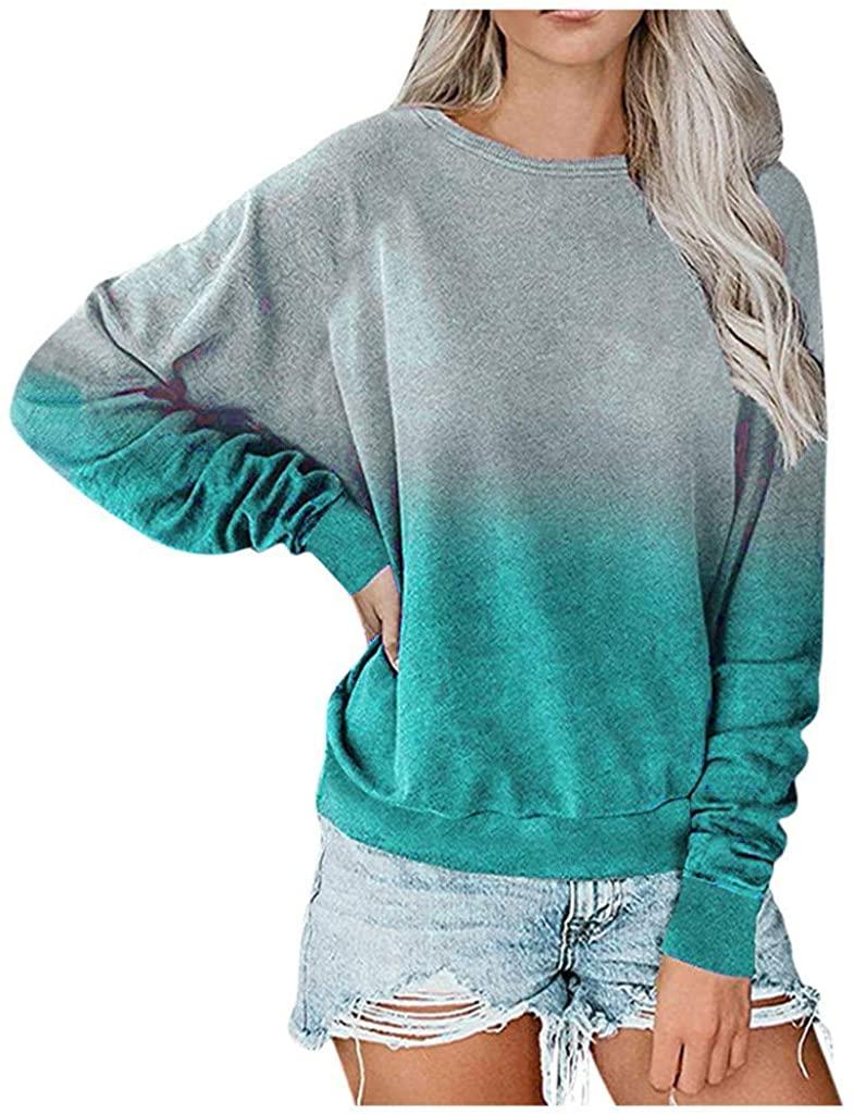 LongSleeveTopsforWomen,Womens Tie Dye Printed Long Sleeve Sweatshirt Crew Neck Casual Loose Pullover Tops Shirts