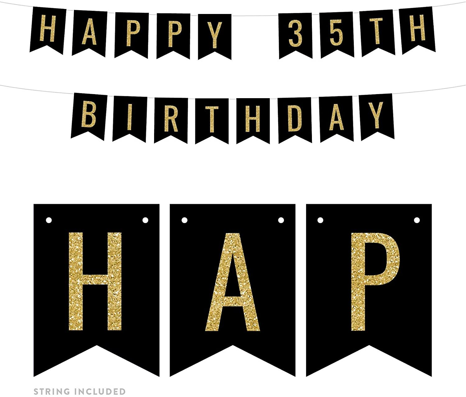 Andaz Press Faux Gold Glitter on Black Birthday Party Banner Decorations, Happy 35th Birthday, Approx 5-Feet, 1-Set, Milestone Colored Hanging Pennant Decor