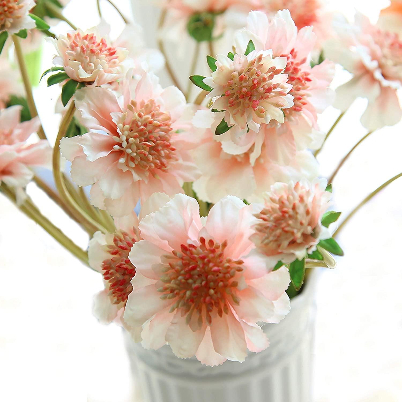 cn-Knight Artificial Flower 6pcs 18'' Long Stem Silk Daisy Mum Flower Faux Coreopsis Fake Calliopsis for Home Décor Housewarming Gift Wedding Bridal Bouquet Bridesmaid Centerpiece(Light Pink)