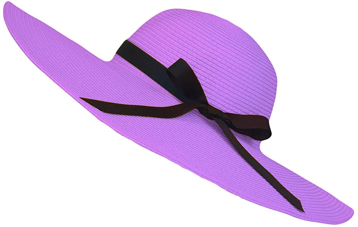 WITHMOONS Womens Straw Hat Wide Brim Floppy Beach Cap Packable Sun Hat SZ90045