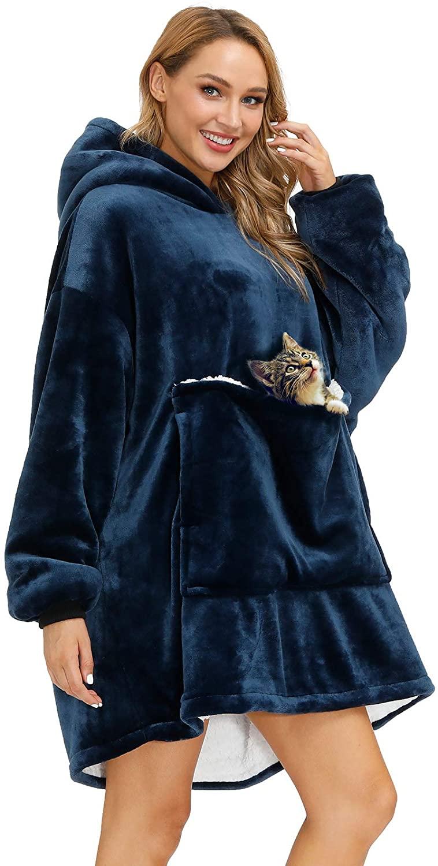 Wearable Blanket Oversized Blanket Hoodie Wearable Sweatshirt Sherpa Comfy Blanket with Deep Pockets,Super Soft Warm Suitable for Adults Teens Women Men(Blue)