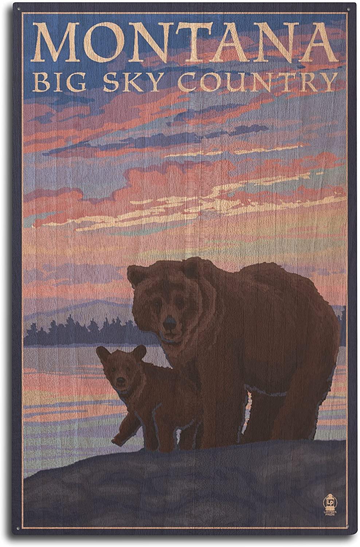 Lantern Press Montana - Big Sky Country - Bear and Cub (10x15 Wood Wall Sign, Wall Decor Ready to Hang)