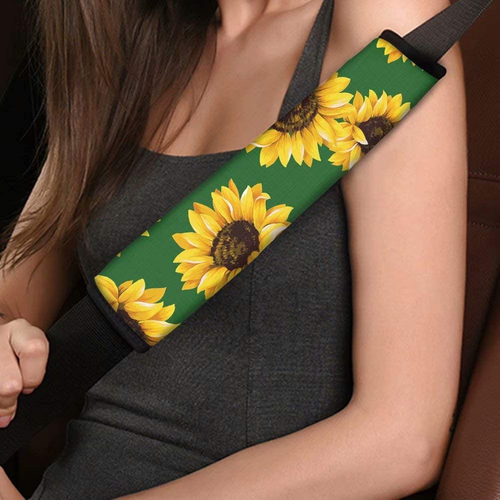 Dellukee Auto Seat Belt Cover Shoulder Seatbelt Pad for Adults Youth Kids Toddlers Car Truck SUV Airplane Car Seat Belt Pads Backpack Straps 2 PCS Sunflowers