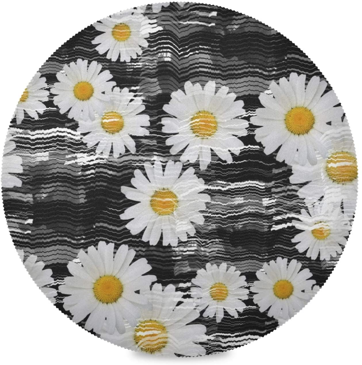 Wudan Round Placemats Daisies Set of 4 Pieces Heat-Resistant Table Mats for Dining Kitchen Table Decoration Skid-Proof Stain Resistant Easy to Clean(Diameter15.4inch)