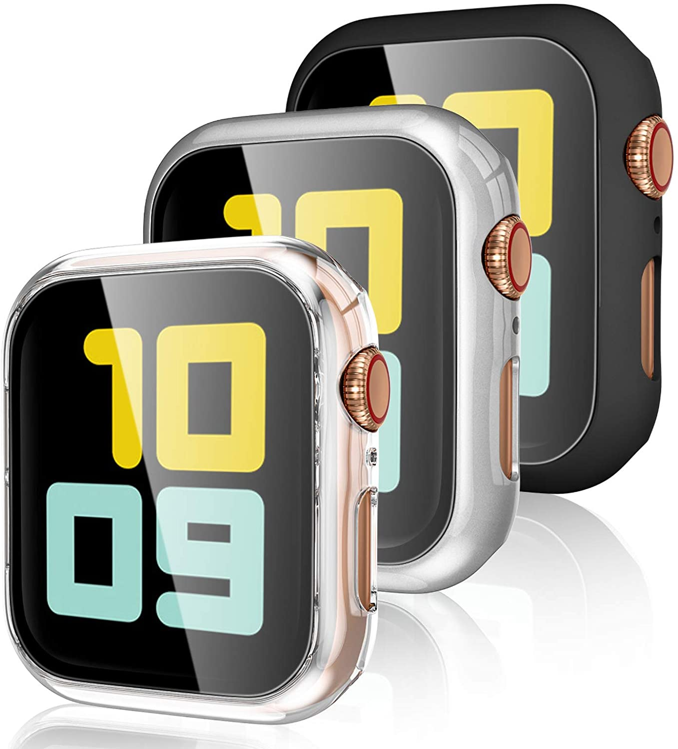 Henva [3 Pack] Protector Case Design for Apple Watch 42mm with HD Tempered Glass, PC Full Coverage Protective Case Compatible with iWatch Series 3/2/1, Black, Clear, Silver