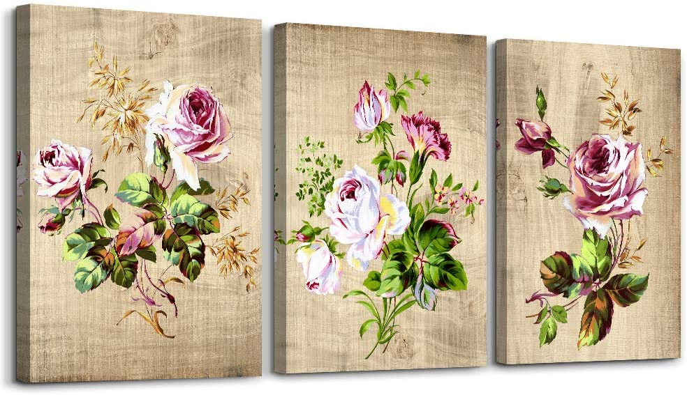 Modern flowers Canvas Wall Art for bedroom,Wall Decorations for Living Room,Bathroom Wall Decor,3 Panels Wall Painting Home Decoration kitchen Canvas Print Watercolor painting artwork wall mural