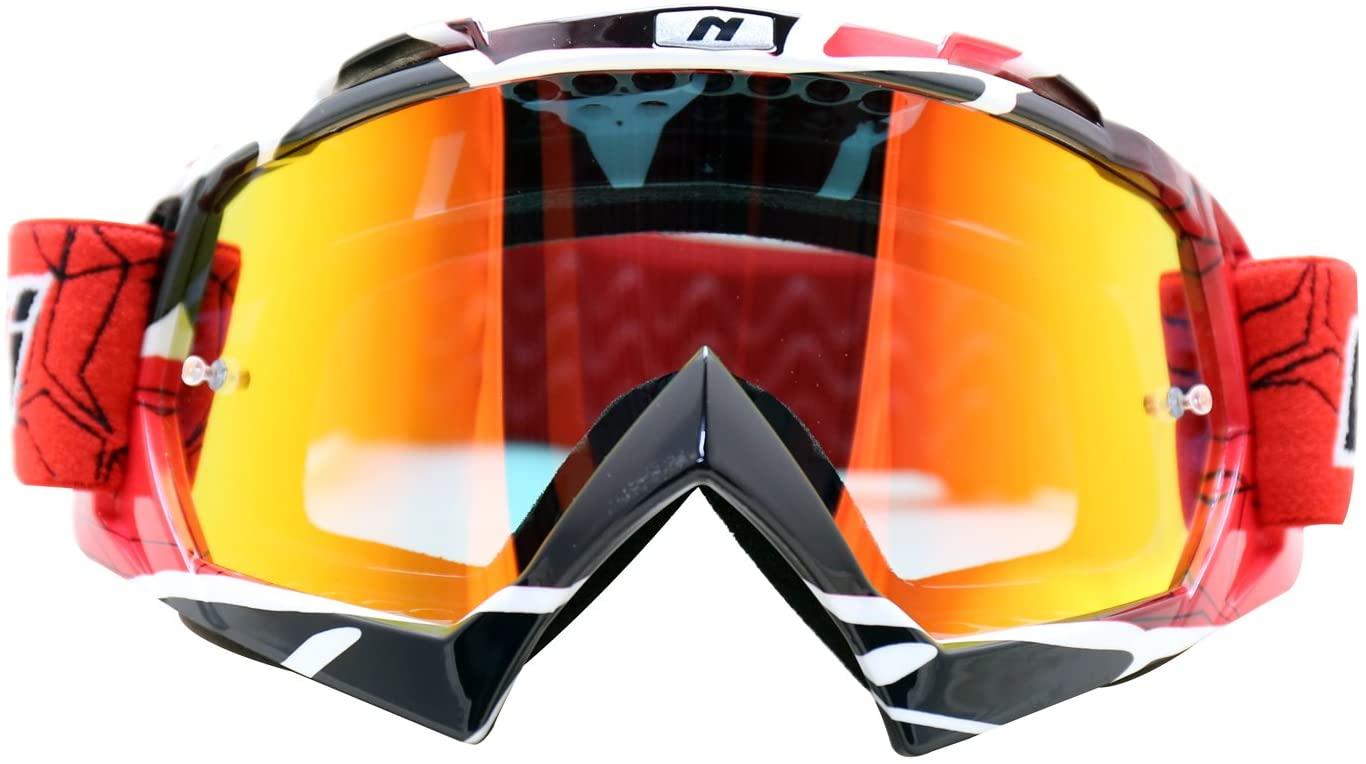 NENKI Motocross Goggles NK-1019 MX ATV Off Road Dirt Bike Goggles For Unisex Adult (Techline Red,Anti Fog Mirrored Lens)