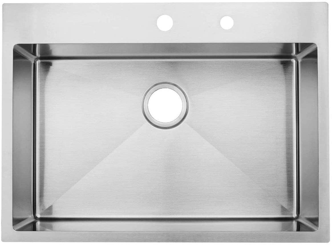 KINGO HOME Commercial 30x 22 Inch 10 Inch Handmade Top Mount 304 Stainless Steel Drop In Single Bowl Kitchen Sink 18 Gauge, Brushed Nickel Kitchen Sinks